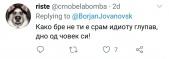 Твит на новинарот Борјан Јовановски